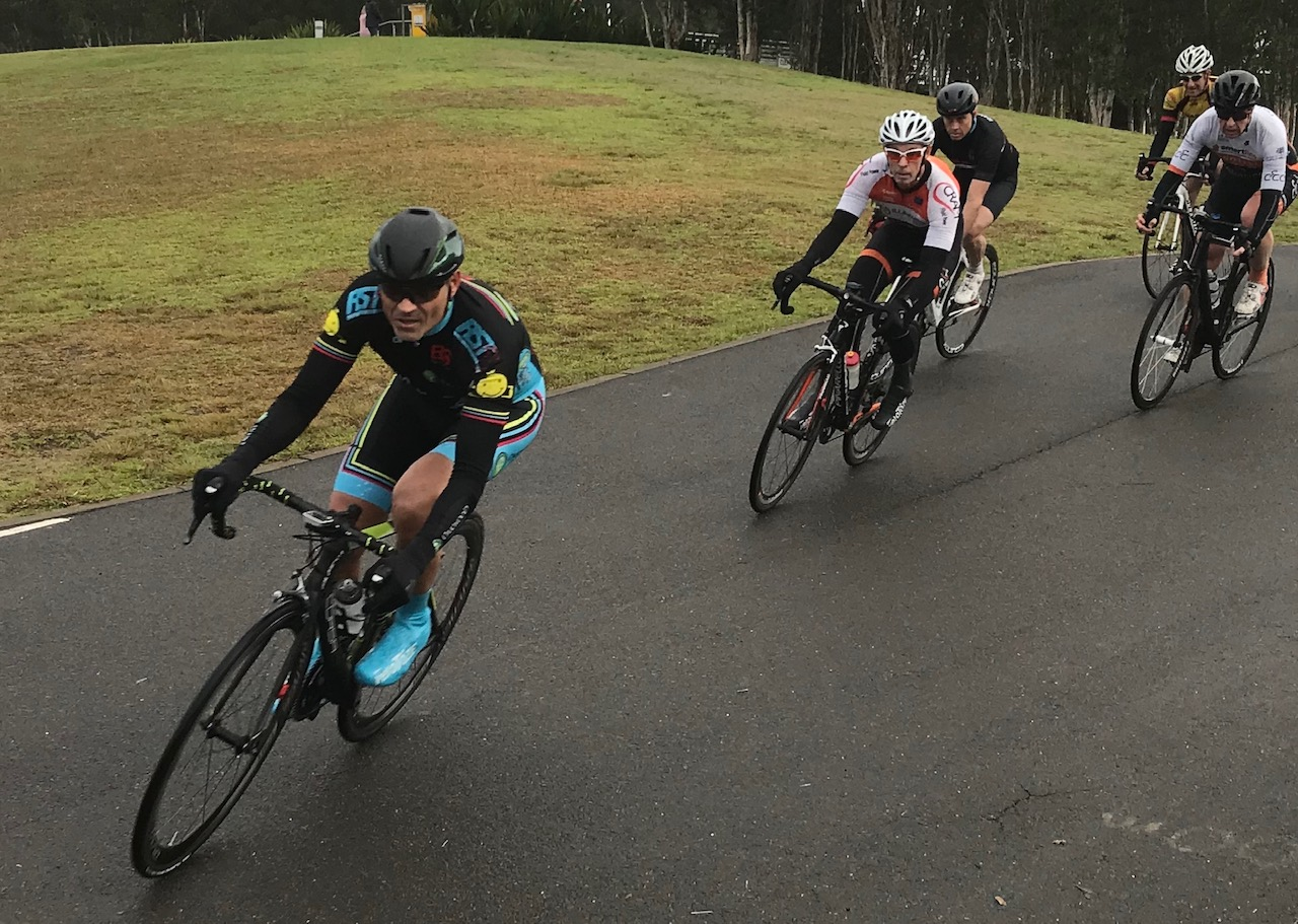 Metropolitan Championships @ Penrith Lakes @ 6 July - Dom Zumbo in the M6 peloton into the finishing straight.