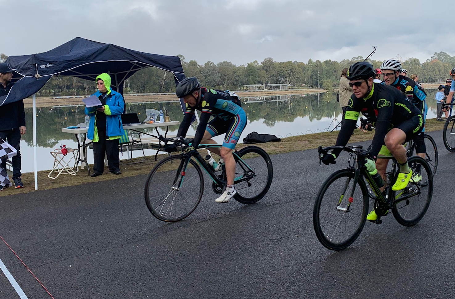 Metropolitan Championships @ Penrith Lakes @ 6 July - At the M6 finish line and Matt Coy may have already taken the M6 Bronze Medal but close on his heels was the BiciSport sprint train of Graham Cockerton, Peter Budd & Eric Dole
