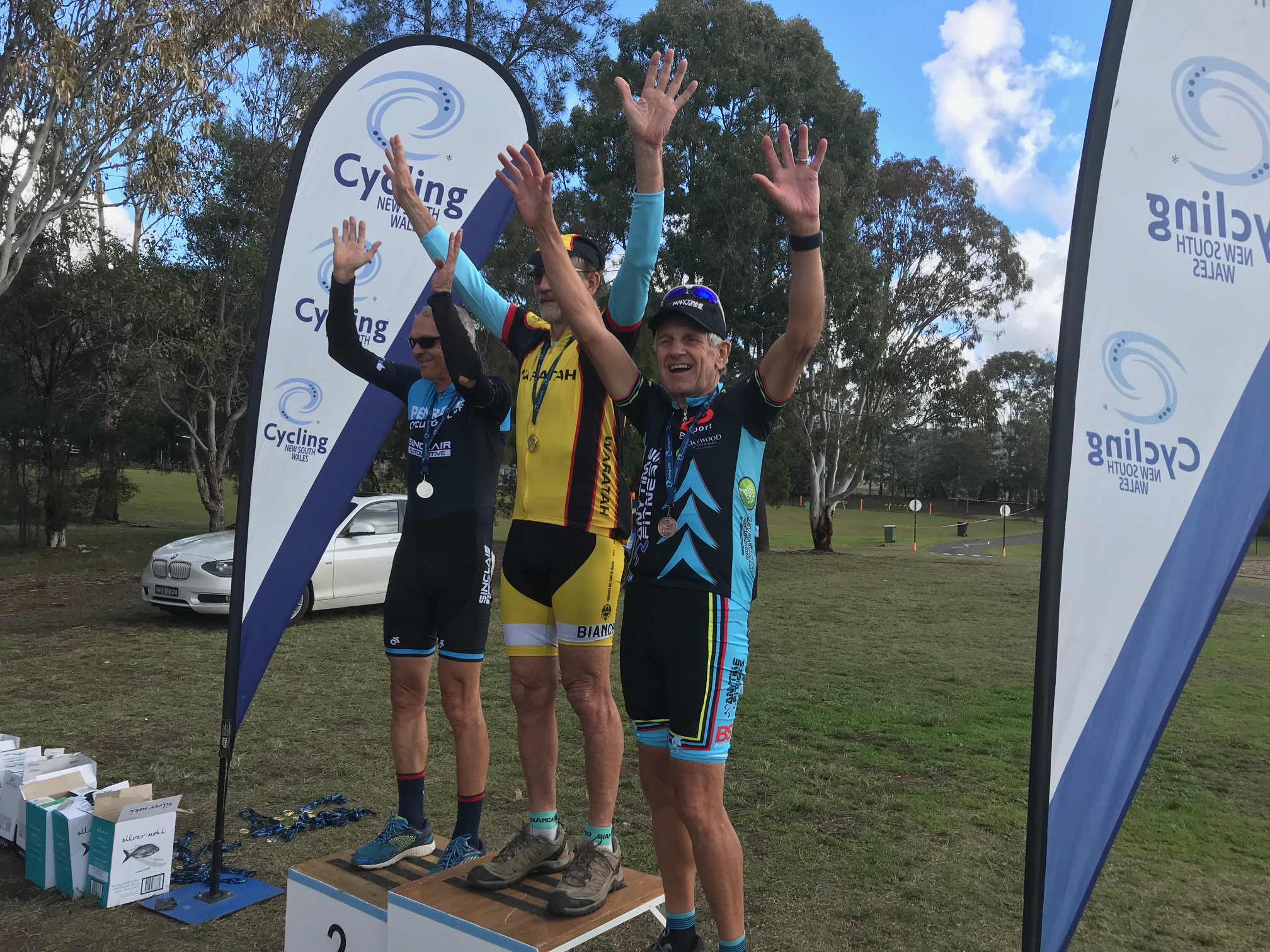 Metropolitan Championships @ Penrith Lakes @ 6 July - M8 podium and Ian Grainger takes the Bronze medal …. BiciSport's own Il Presdente, Communications Director, Mr Motivation & General Mr Nice Guy