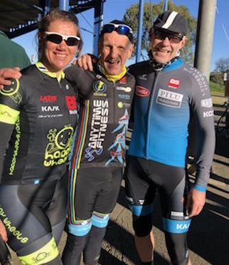 Cervelo Masters Round 3 @ Eastern Creek @ 14 July - Ruth Strapp (BiciSport Happy Wheels), Ian Grainger (BiciSport Anytime) & Matt Coy (BiciSport Pilu Racing)