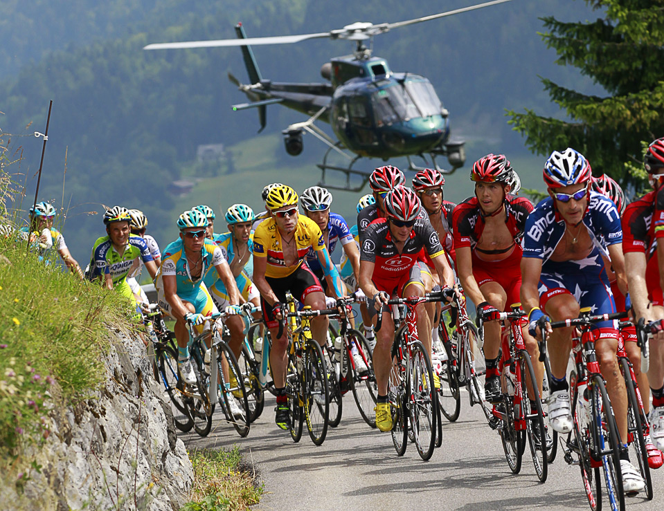 No reason to post this other than it being a great picture of Cadel Evans in  Le Tour
