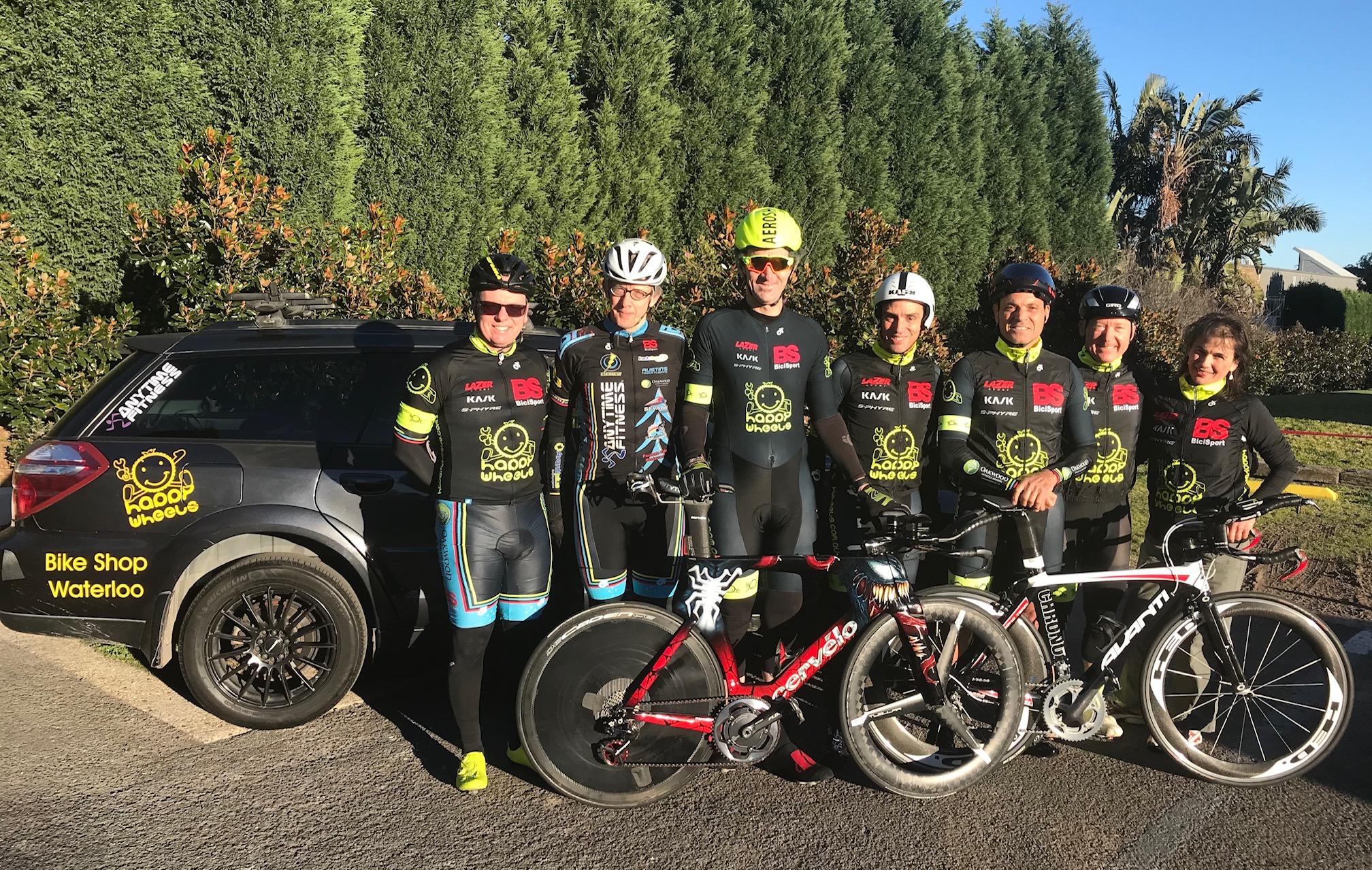BiciSport Team Time Trial Training @ Terrey Hills @ 21 July - L to R … Davide Van Der Browne, Peter Verhoeven, Stewart Campbell, Randolph Baral, Dom Zumbo, Graham Cockerton, Suzy Ladanyi (HW Team Manager)
