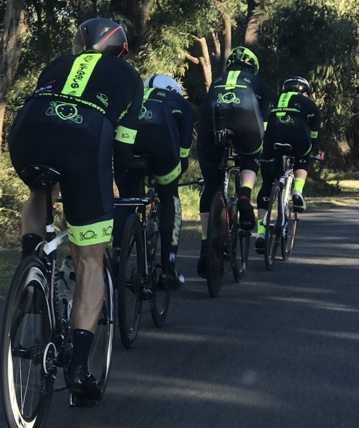 BiciSport Team Time Trial Training @ Terrey Hills @ 21 July - L to R …Dom Zumbo, Randolph Baral, Stewart Campbell & Graham Cockerton on Booralie Rd Terrey Hills towards Duffys Forest