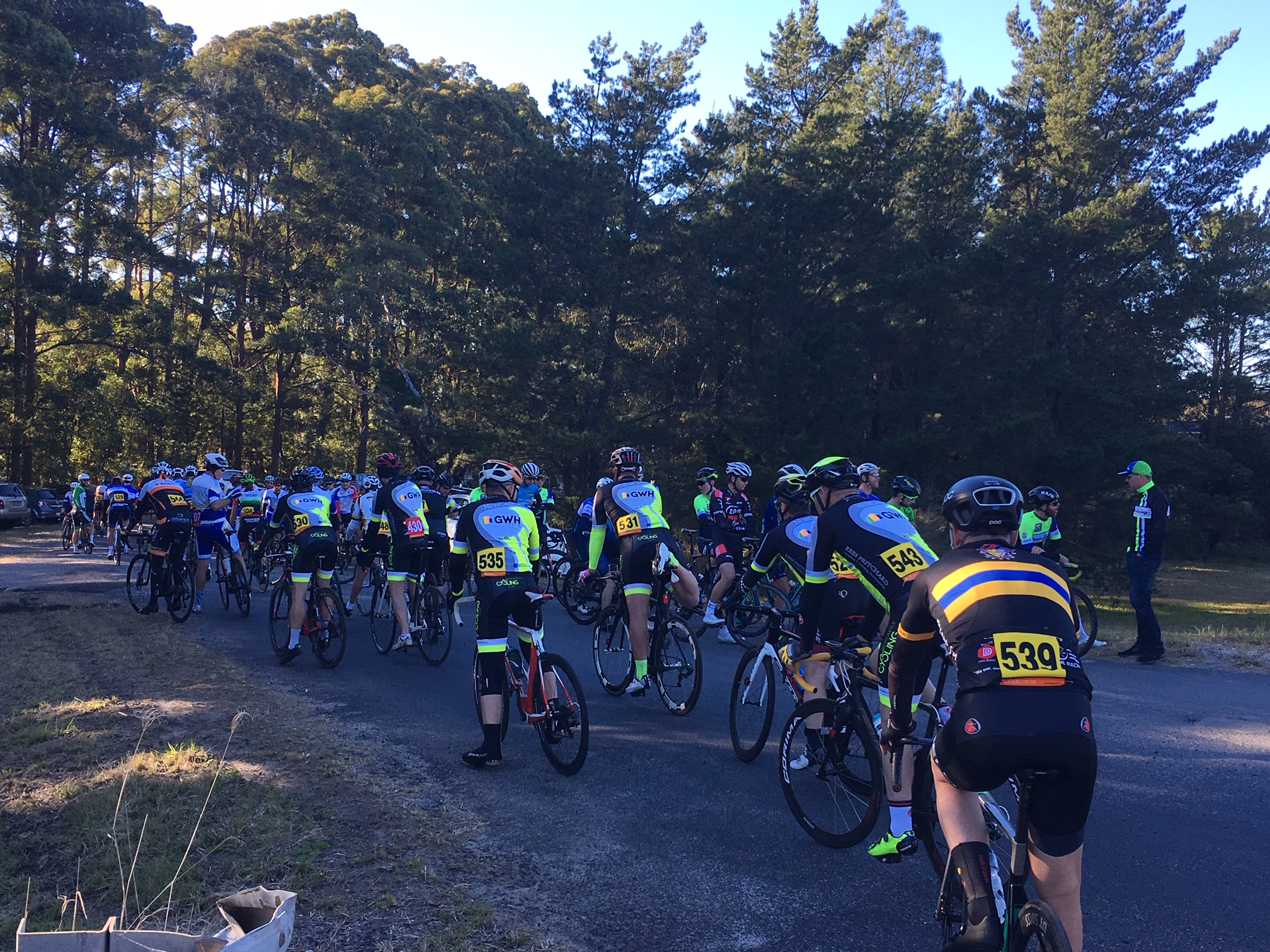 Calga Road Race @ 21 July - C grade prepares for the start in chilly conditions