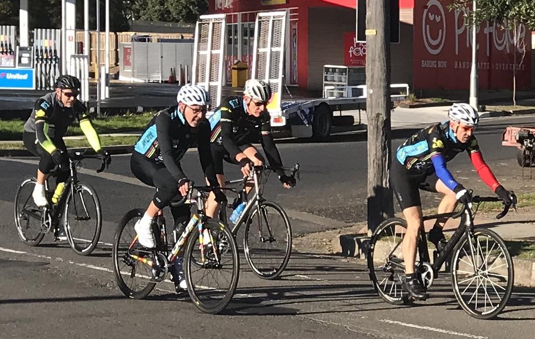 BiciSport TTT Training @ Terrey Hills @ 28 July - L to R … Karl Hoad, John Robb, Raoul Westbrook & Sean Mura