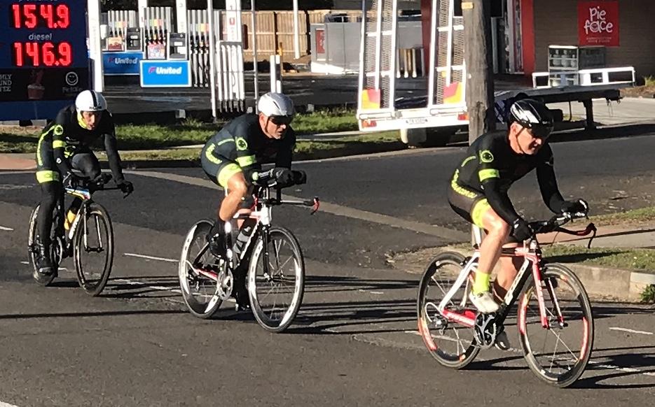 BiciSport TTT Training @ Terrey Hills @ 28 July - L to R … Randolph Baral, Dom Zumbo & Graham Cockerton