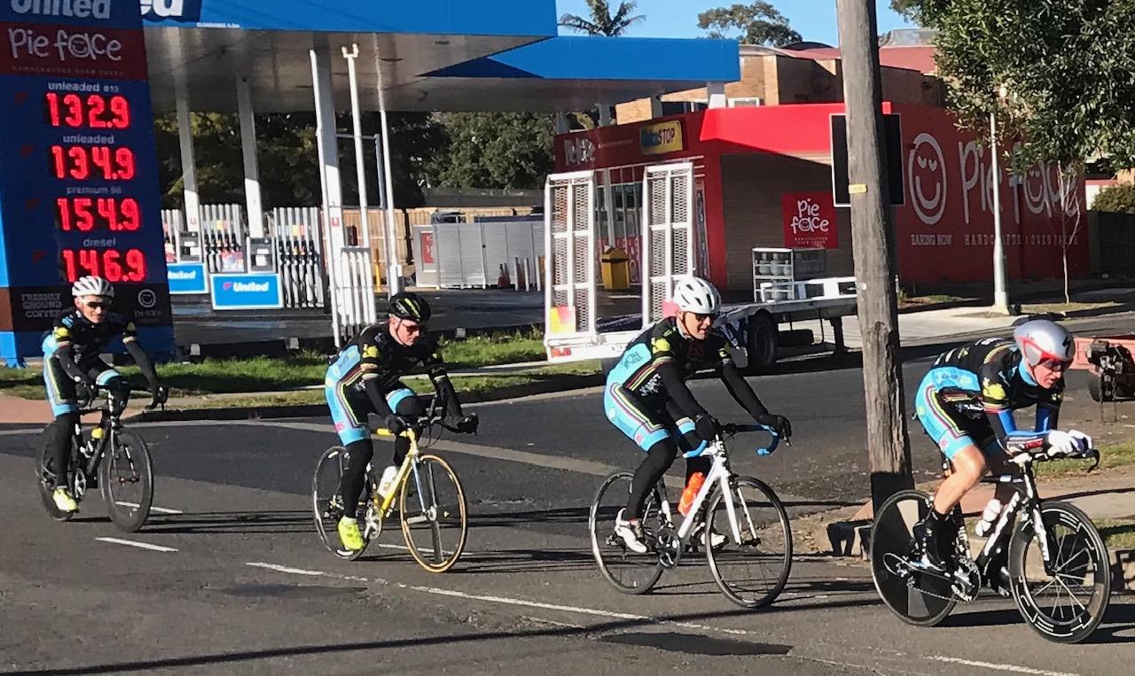 BiciSport TTT Training @ Terrey Hills @ 28 July - L to R …. Eric Dole, Davide van der Browne, Steve Holland & Peter Verhoeven