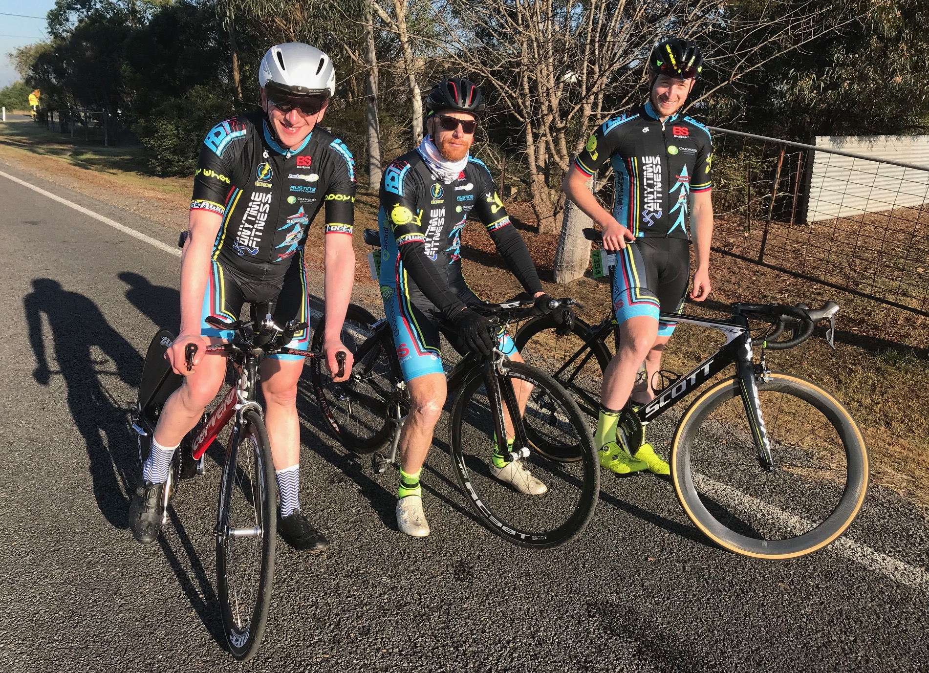 NSW Team Time Trial @ 3 August - L to R … Tom Green, Rhett Hall & Conor Tarlington finished 2nd in the Elite Mens Challenge. Conditions were ideal for the early morning start.