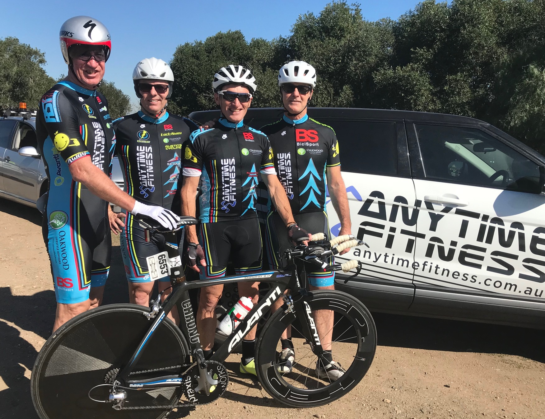 NSW Team Time Trial @ 3 August - Len Groen, Davide van der Browne, Eric Dole (French Housewives Favourite) & Steve Holland. Davide was unlucky to puncture in the first 5k that ended his day.