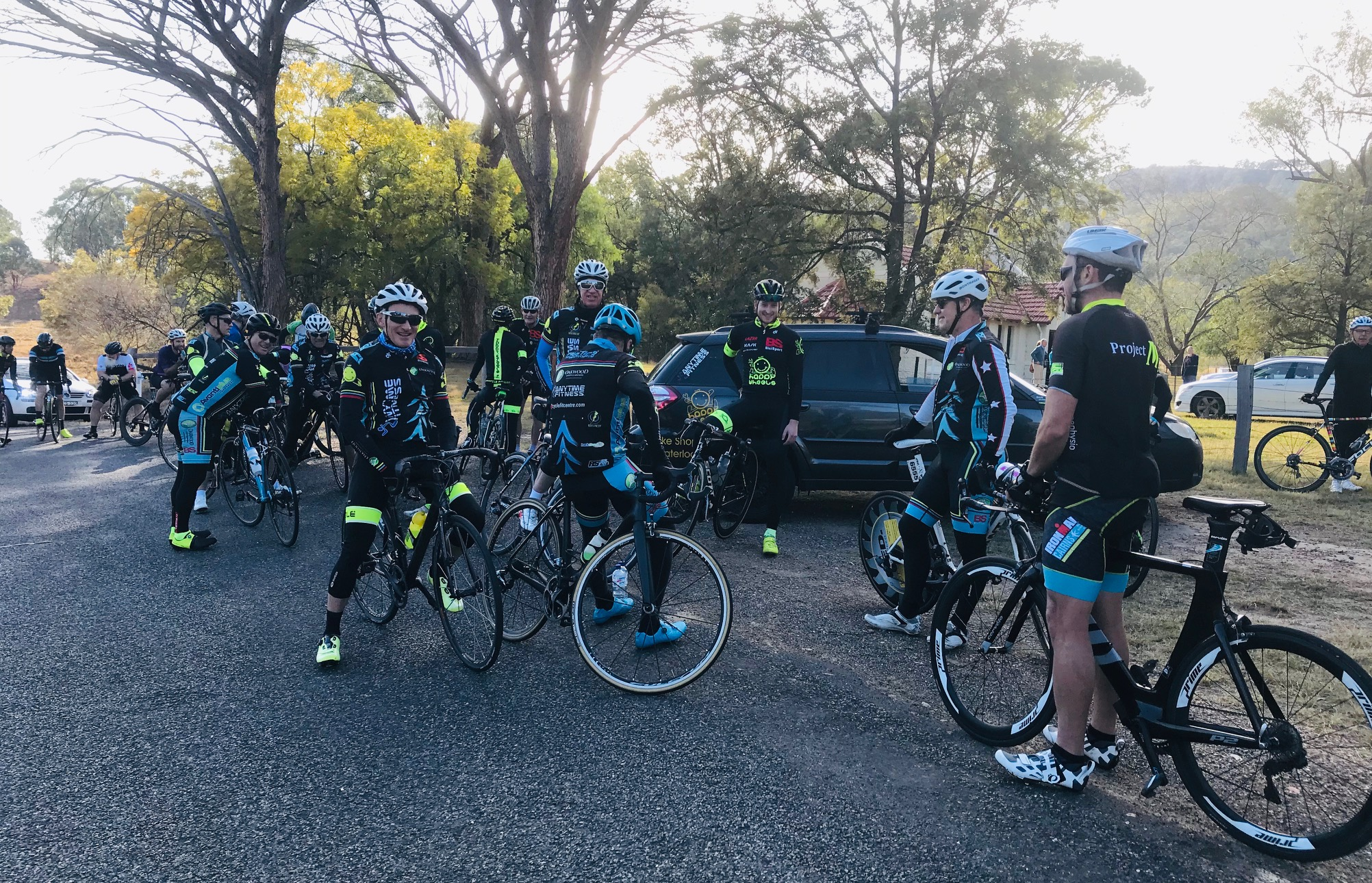NSW Team Time Trial @ 3 August - BiciSport Sunday club ride up the Mirannie Valley to the St Johns Baptist Church. Marty Wright in middle picture (facing the other way) was somewhat in the hurt box after a big day on team management duties.