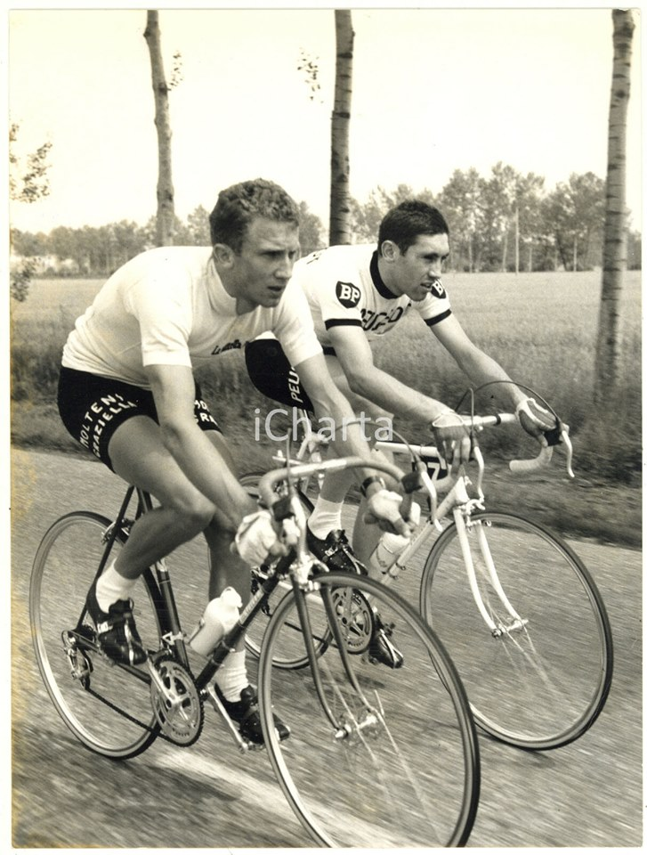 """Retro 1967 with a youthful Gianni Motta (Molteni) and Eddy Merckx (Peugeot BP). Motta rode with Campagnolo high flange hubs and Merckx on the """"new"""" low flange hubs. In the picture both riders are using Universal brakes, but Merckx deferred for the team issue Mafac brake calipers ."""