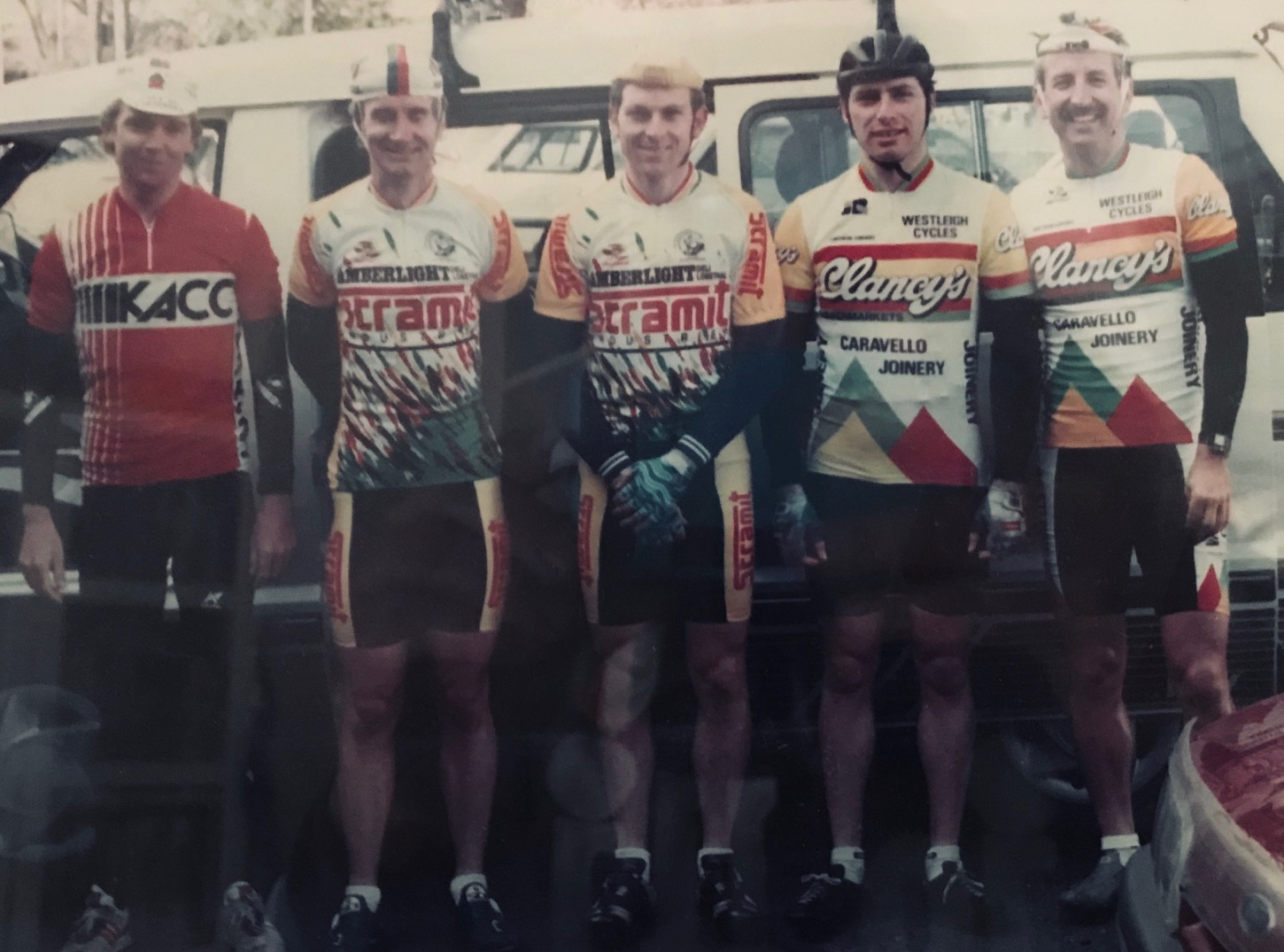 Goulburn Liverpool Classic 1988 - A 180k handicap with 250 starters departing Goulburn from 7.30am then onwards down the Old Hume Highway (there was no freeway in those days) then direction Marulan, Bundanoon, Exeter, Moss Vale, Picton, Camden, Campbelltown and finally finishing in the Liverpool main street.  L to R … Craig Beddome (South Australia), Peter Frisken, Peter Rowe, Peter Krause & Mike O'Reilly