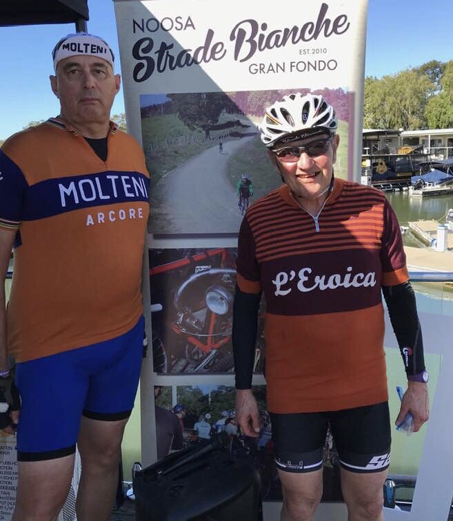 Strade Bianche @ Noosa @ 11 August - The BiciSport duo of Frank Signor (Mr Molteni) and Roger Thompson-Seagrave at the Noosaville waterfront