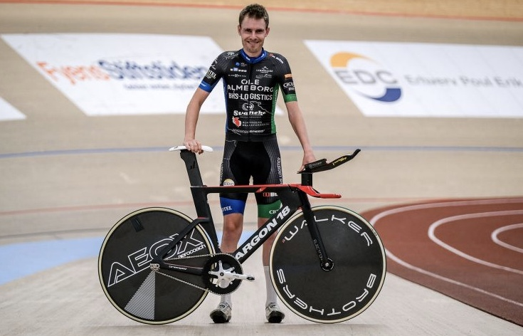 Danish Hour Record - Marting Toft Madsen before the Hour Record effort. Bike by Argon 18.