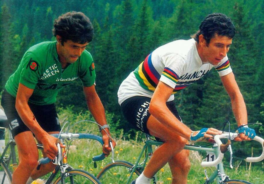 Felice Gimondi (wearing the World Champions Rainbow Jersey) in the Giro D'Italia