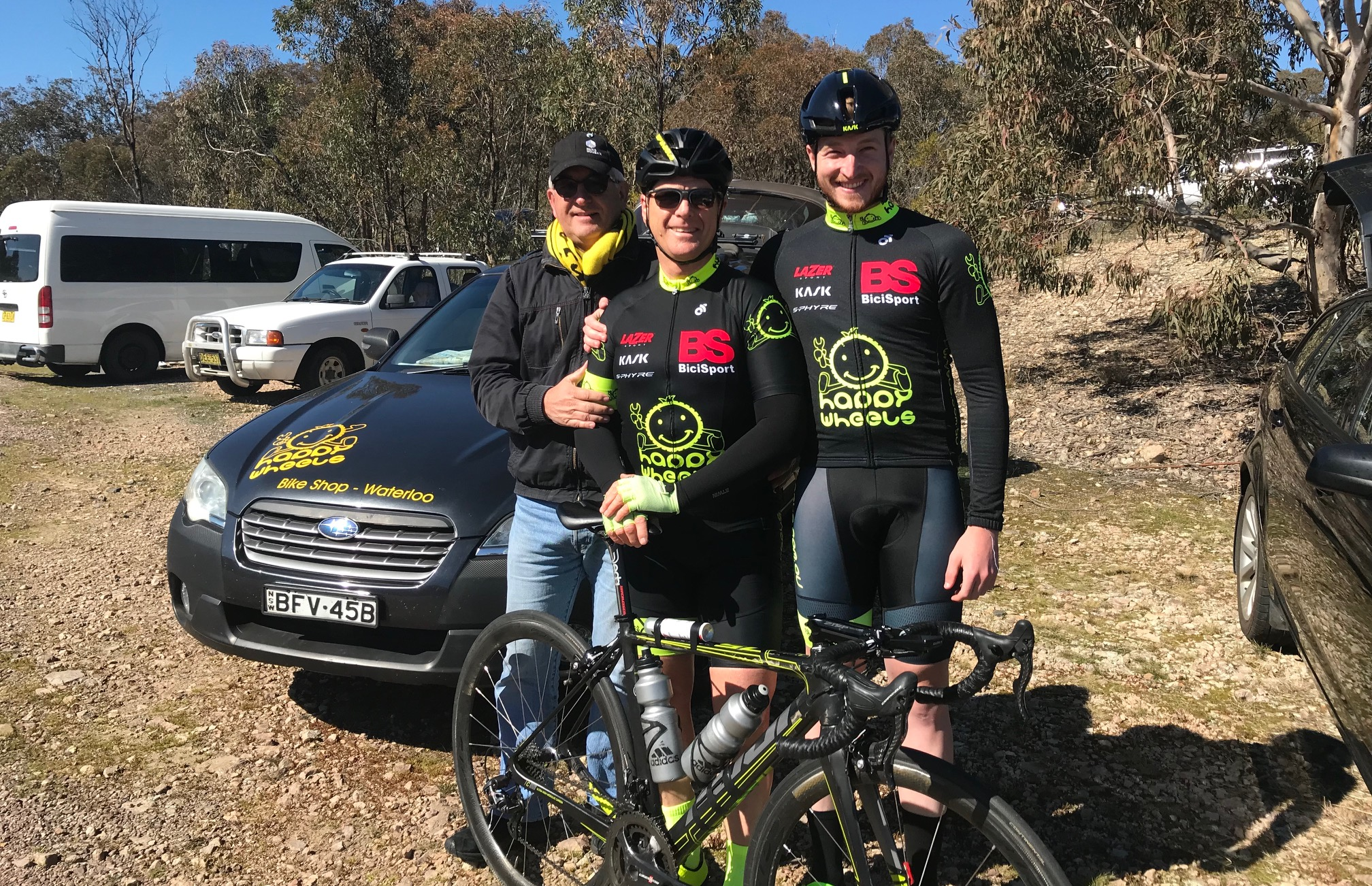Cootamundra 115k Handicap @ 17 August - before the start with Mike O'Reilly, Peter Budd & Conor Tarlington