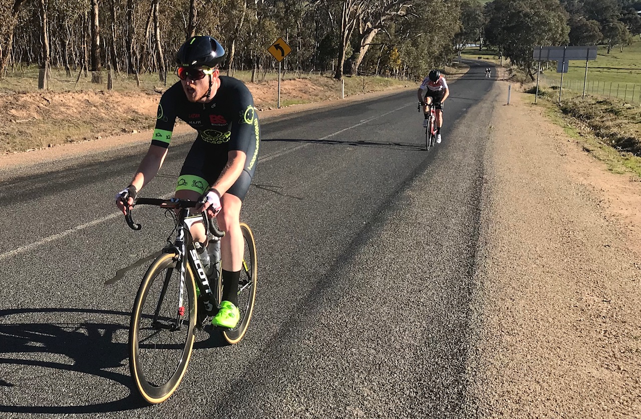 Cootamundra 115k Handicap @ 17 August - Conor Tarlington on the finishing climb for 34th after a great effort