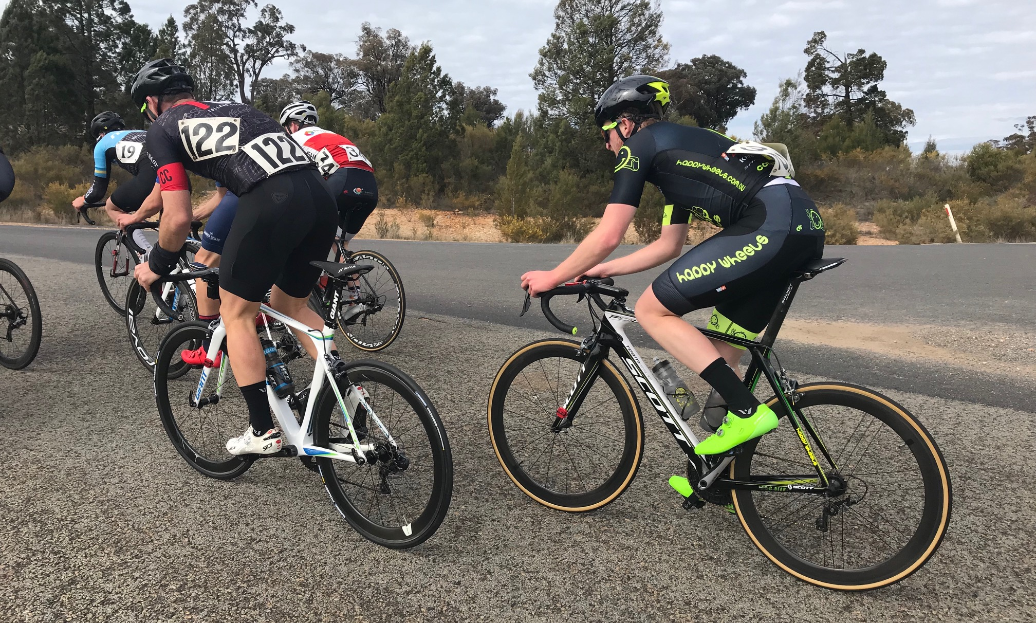 """Cootamundra 80k Scratch Race @ 18 August - Conor Tarlington finished 15th in Division 2 in heavy crosswinds that made """"gutter grovelling"""" the order of the day"""