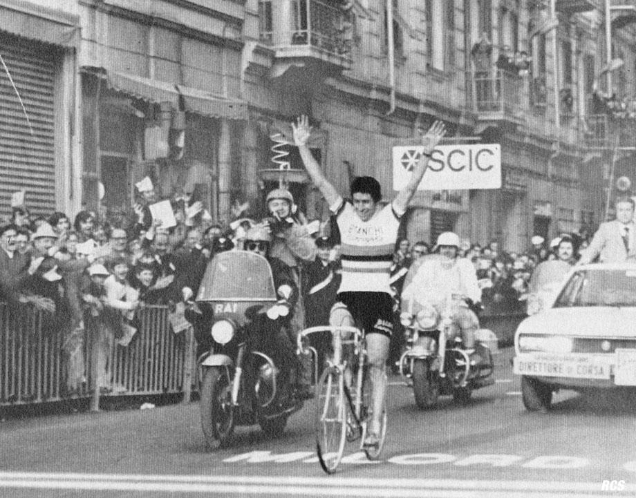 Vale Felice Gimondi - Felice winning the !974 Milan San Remo Classic in the World Champions jersey