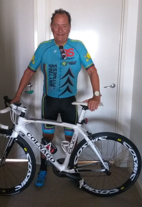 John Elderfield (BiciSport Master) had a super nasty motorcycle accident several months ago in Thailand, but several leg operations later and weeks of living with a moon boot has finally passed. Welcome back to the peloton Bad Johnny !.