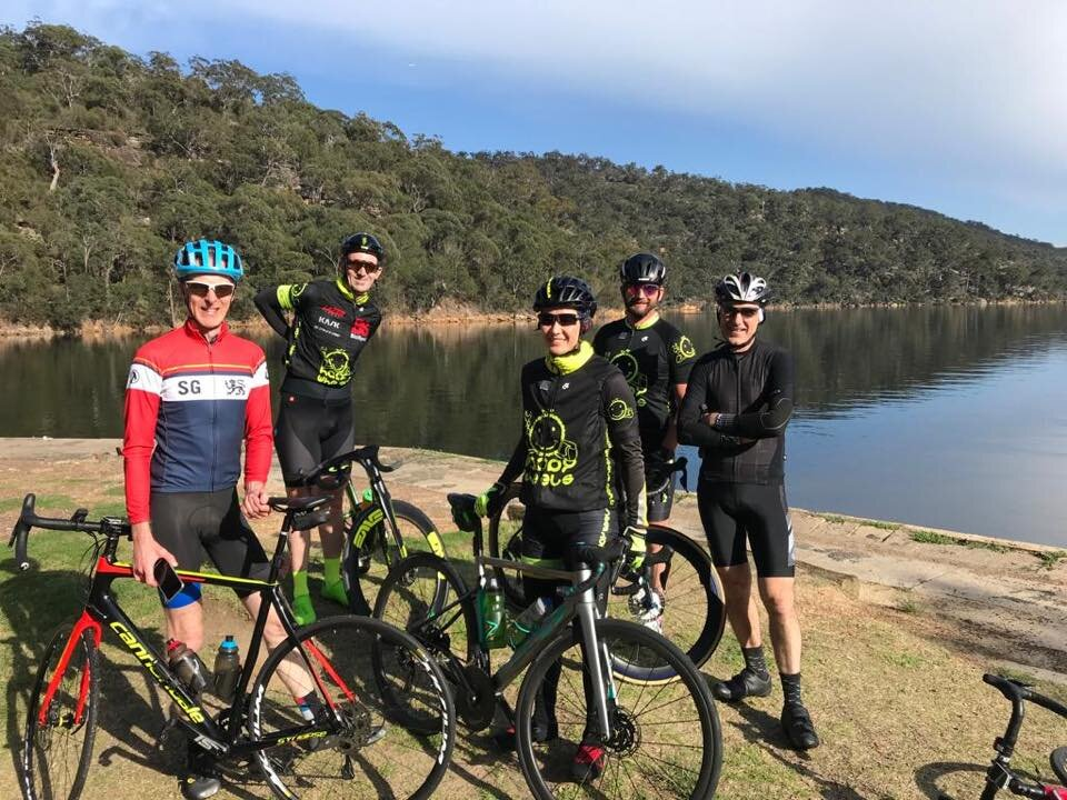 T eam Happy Wheels with Big Stew @ Illawong Bag near Akuna Bay @ 6 Oct - getting in the lumpy k's before the Bowral Classic on 20 October