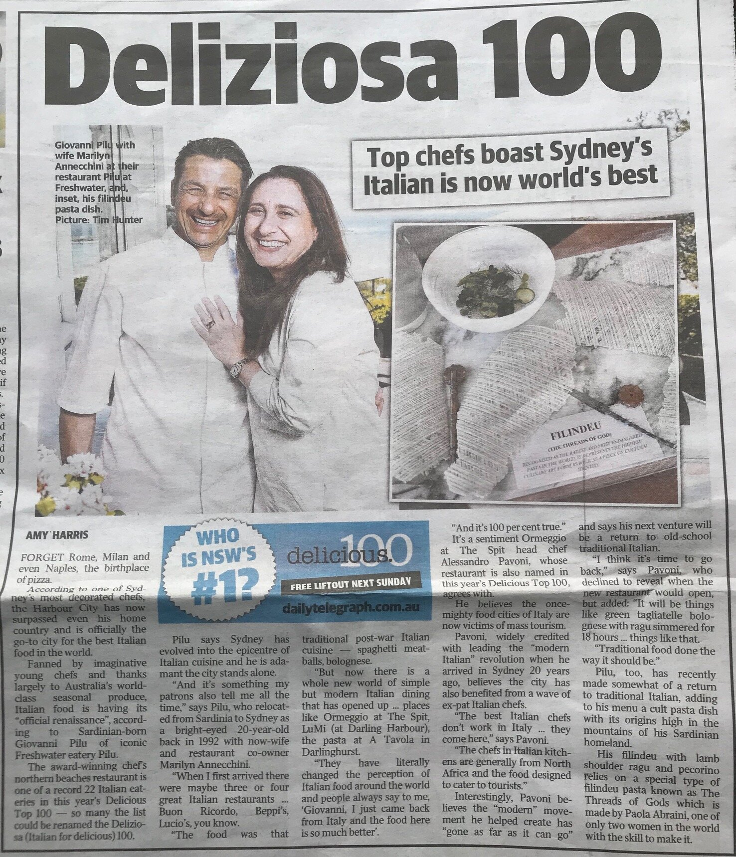 Congratulations to Gio Pilu on a lovely piece in the recent Sunday newspapers