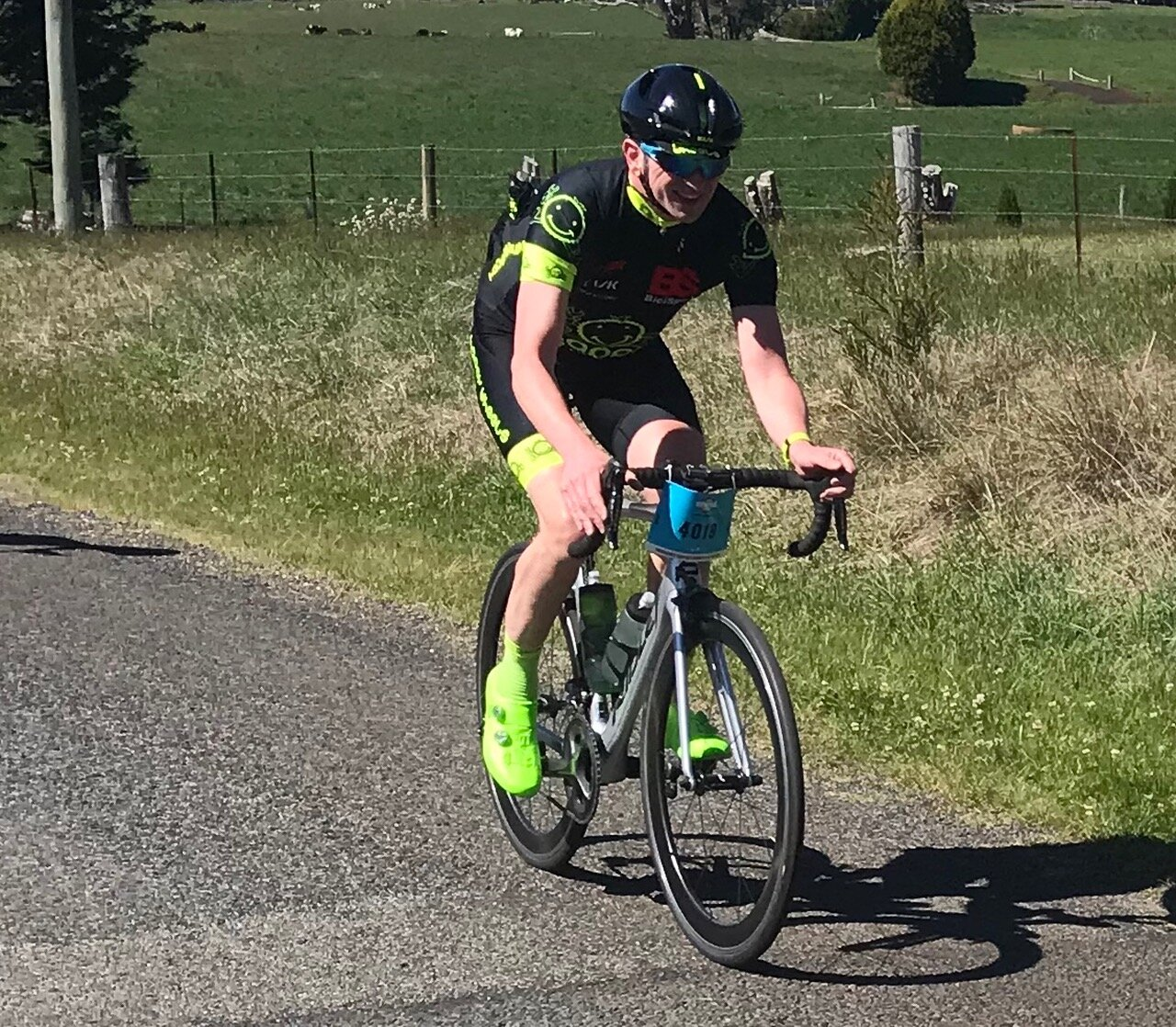 Bowral Classic @ 20 Oct - Tom Green going through picturesque dairy country just outside Robertson on the approaches to the final climb outside Glenquarry not far from Bowral