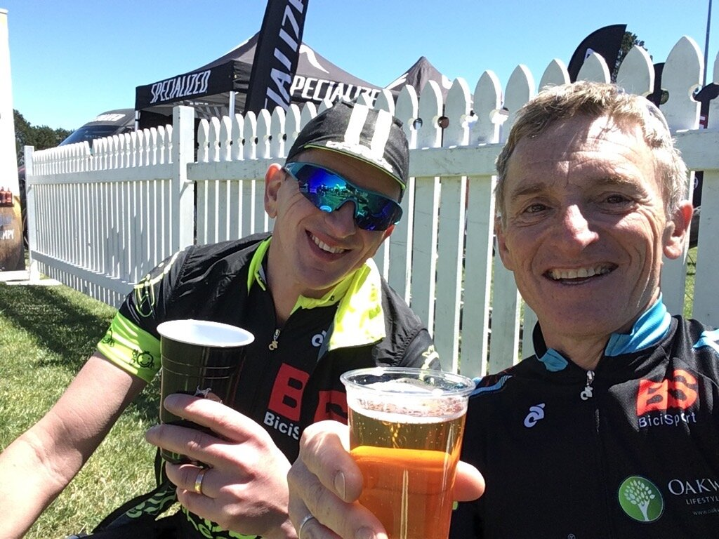 Bowral Classic @ 20 Oct @ Bowral finish - Tom Green & Eric Dole at the post ride Village