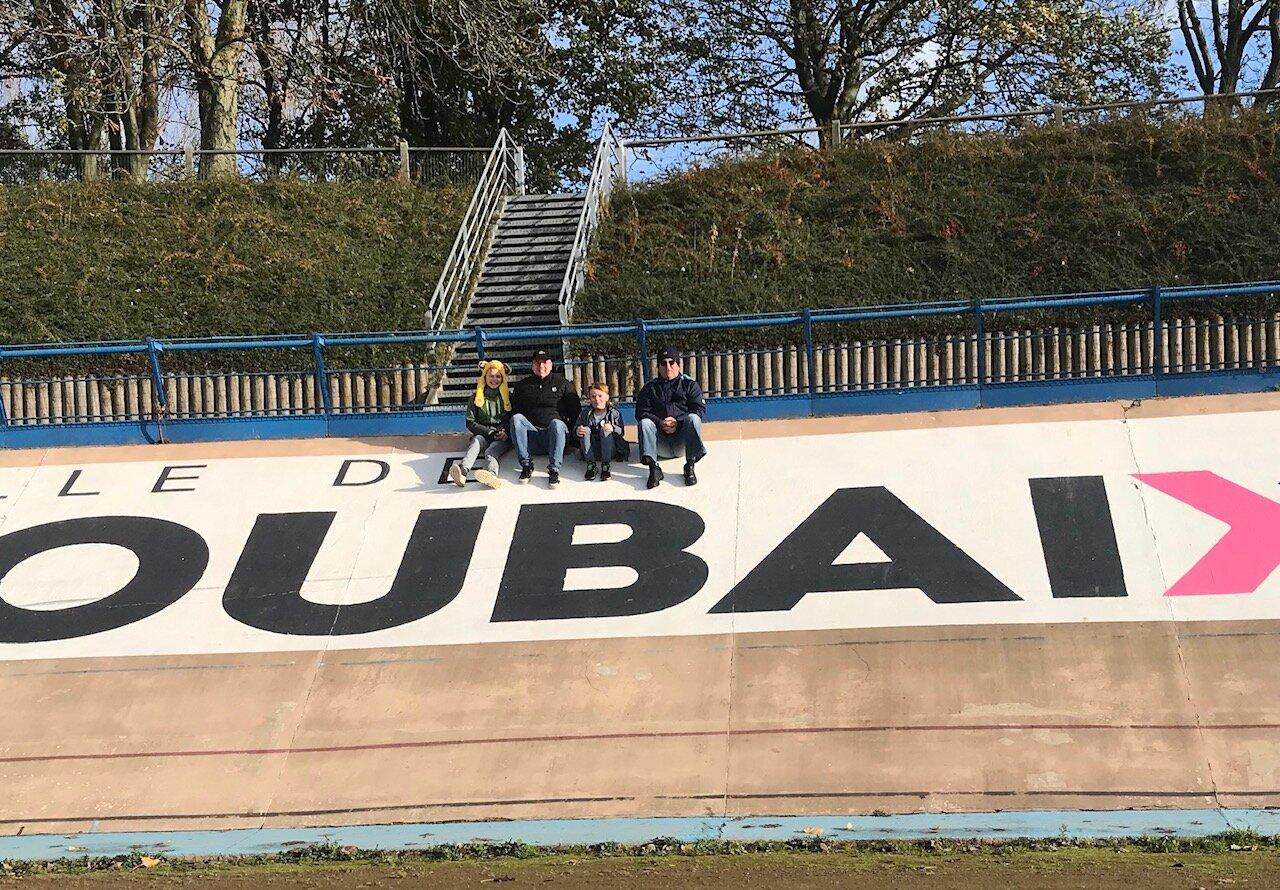 Roubaix Velodrome @ 12 Nov - Davide Browne & family on the Roubaix Velodrome banking