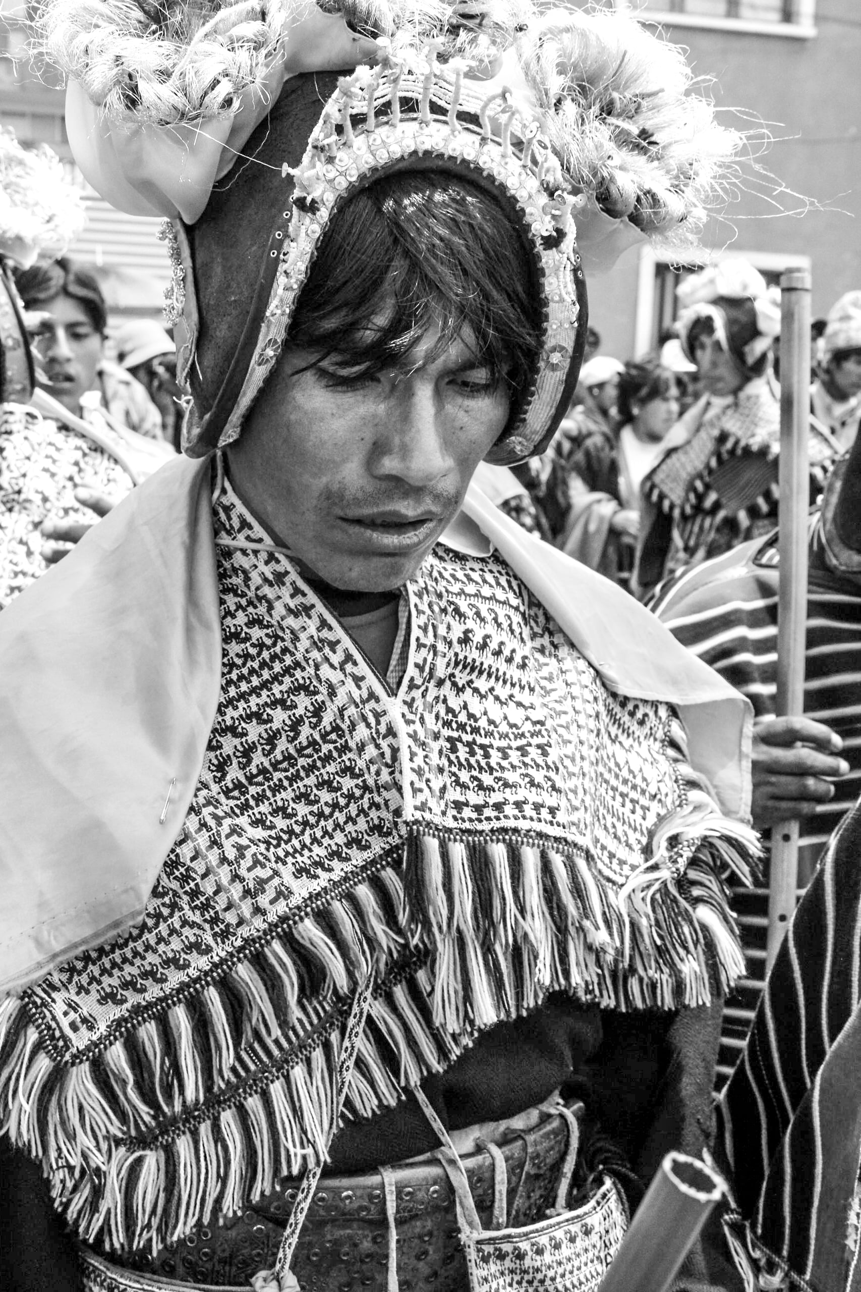 During a parade after the inauguration of Bolivian President Evo Morales.    Bolivia has a indigenous population of 62% and Morales is regarded as the first native president. As the leader of the 'Movement for Socialism' party in Bolivia, Morales has worked to implement policies to reduce poverty and reject the influence of the United States. In 2014, Bolivia banned McDonalds.    Since his first term in 2006,  Morales has been celebrated for his political recognition of indigenous people but criticised for his fascist style of ruling.