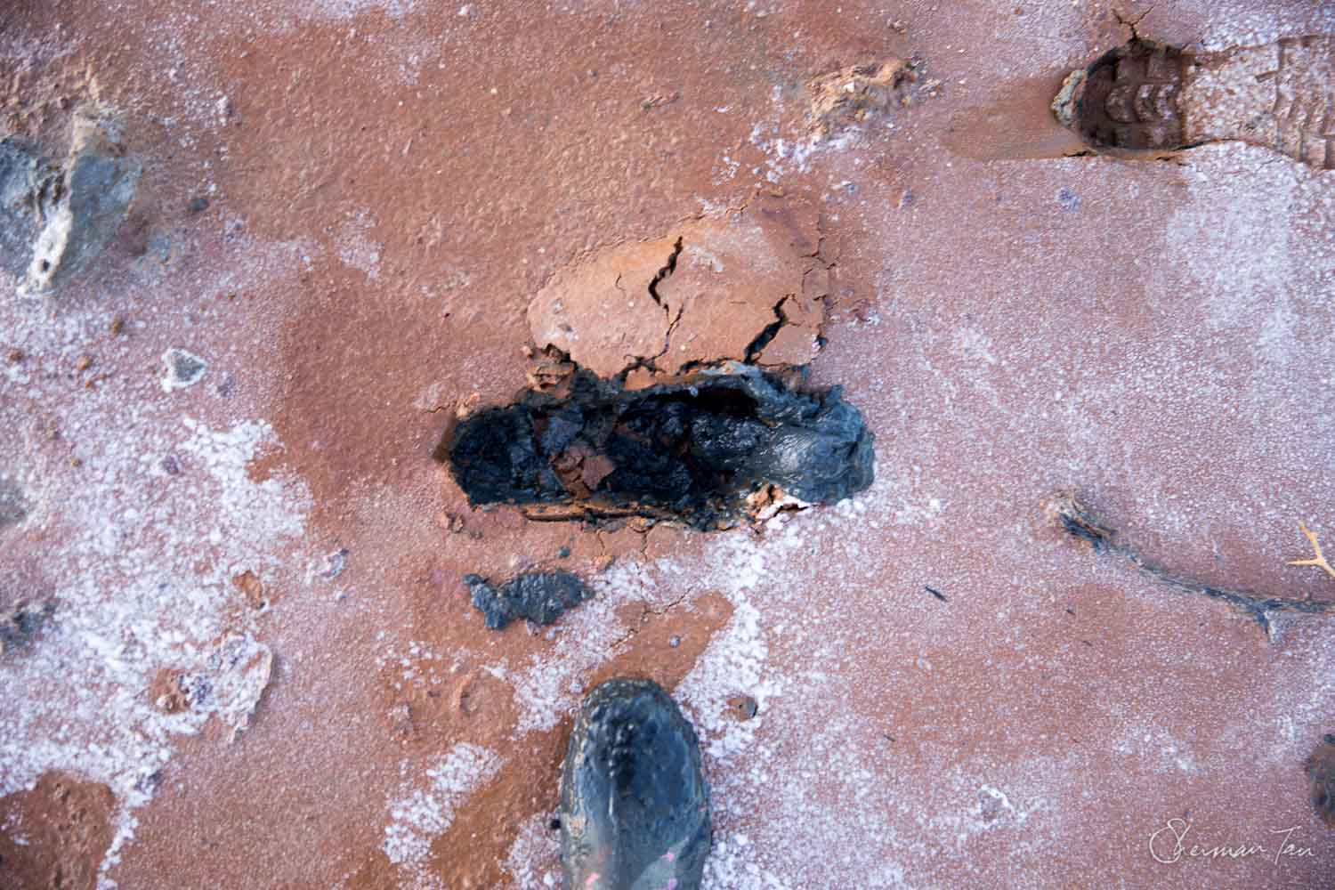 The ground can be pretty moist and soft and your feet could sink into black sulphide‐rich mud