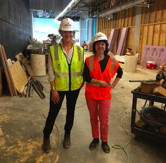 Kelly Kuhn and I at the KU Medical Center space where paintings will hang. We have a tour of the space while it is under construction.
