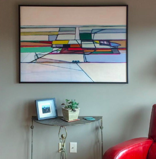 """""""Field with Yellow Square"""" now resides in a residence in Kansas CIty"""