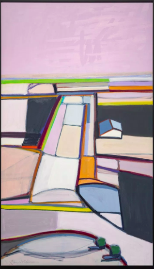 """""""Field with White House"""" oil on canvas, 32 x 55 inches."""