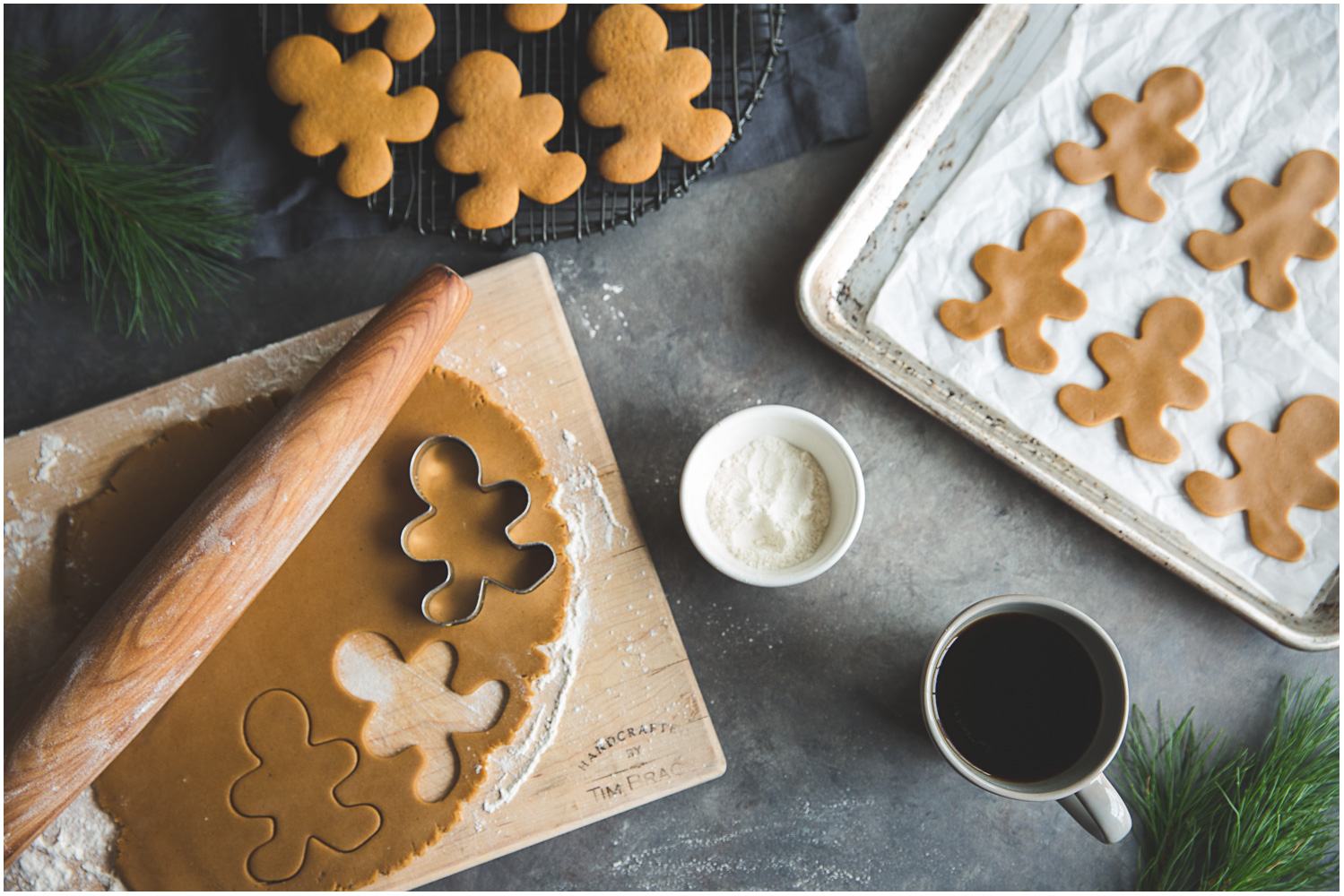 Soft molasses gingerbread men in the making