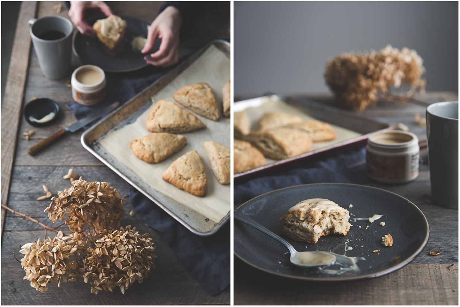 Spiced scones being enjoyed with maple cream and coffee