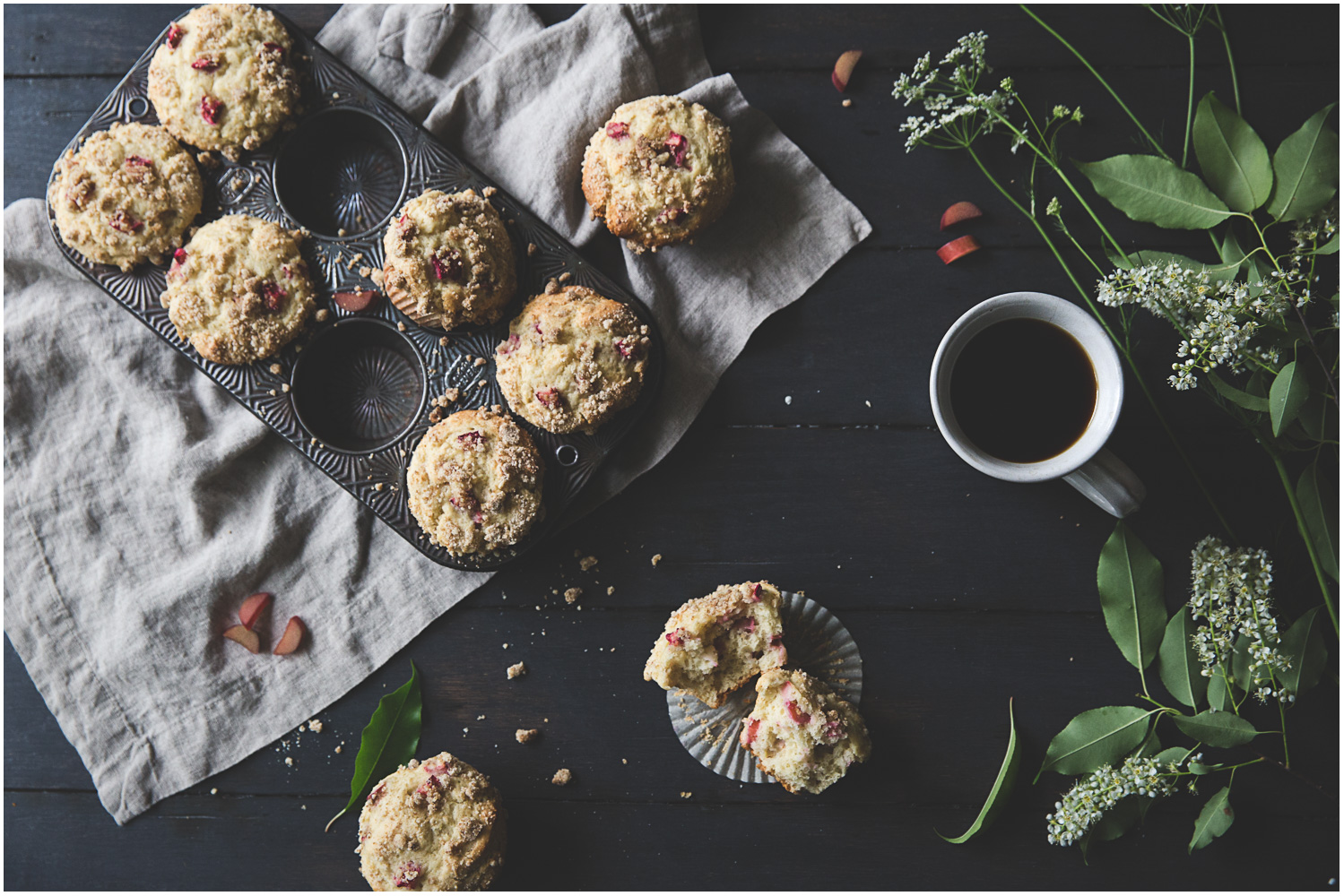 Rhubarb Muffins with Cardamom and Streusel Topping