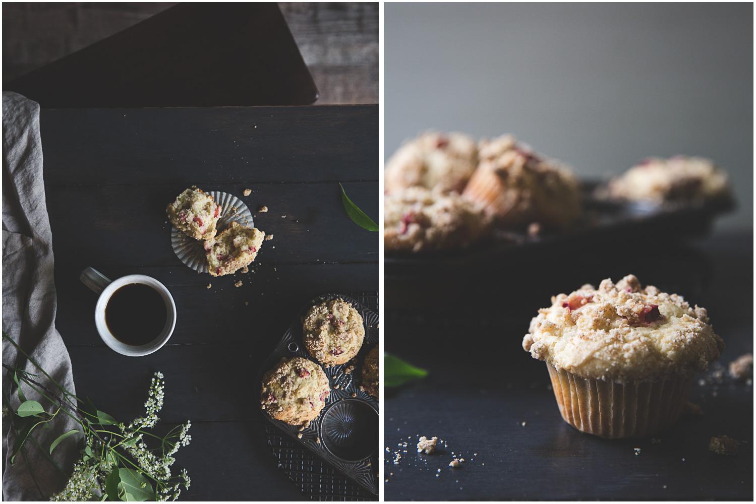 Rainy summer morning with fresh rhubarb muffins