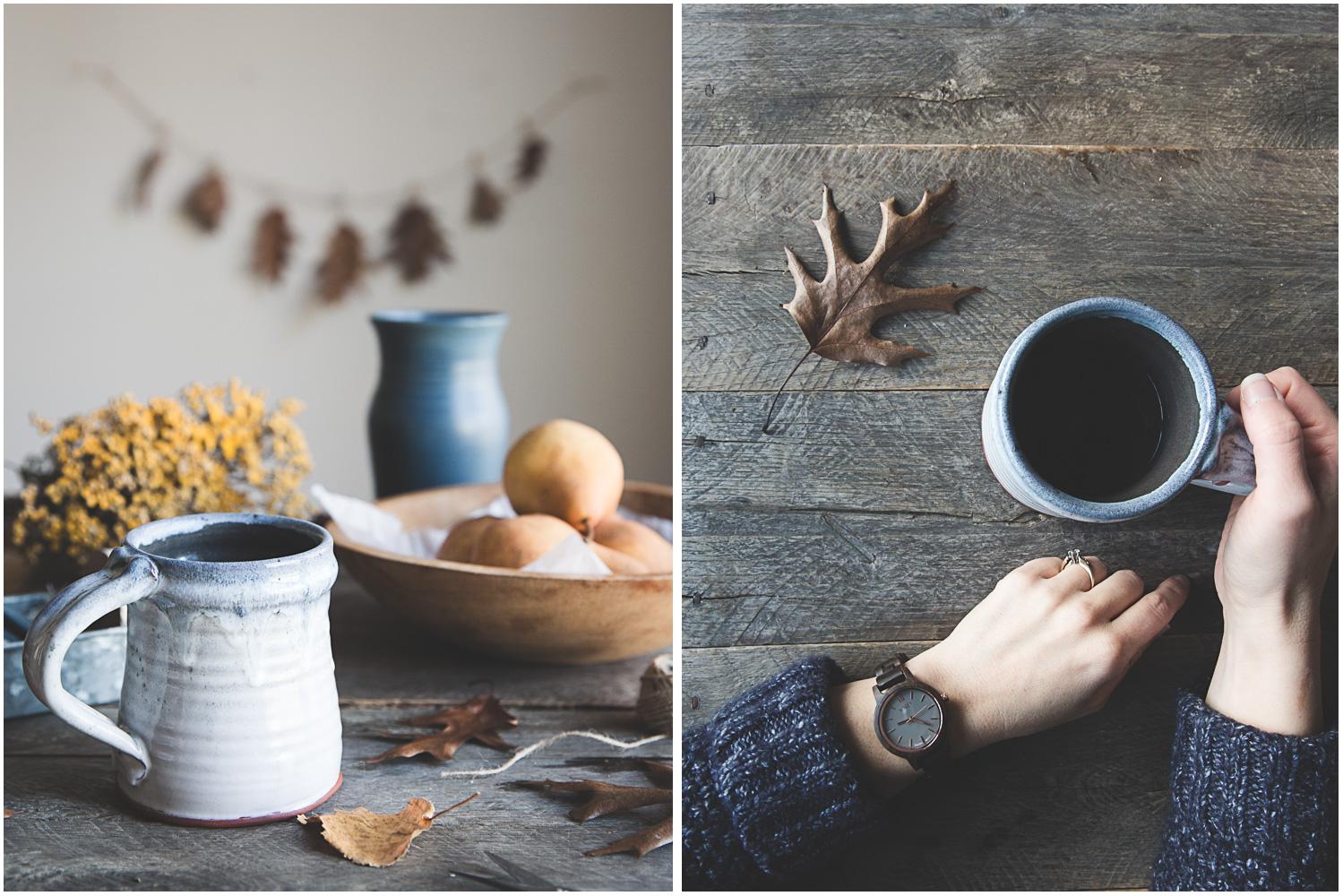Hot coffee on a cold November day   and a JORD wooden watch