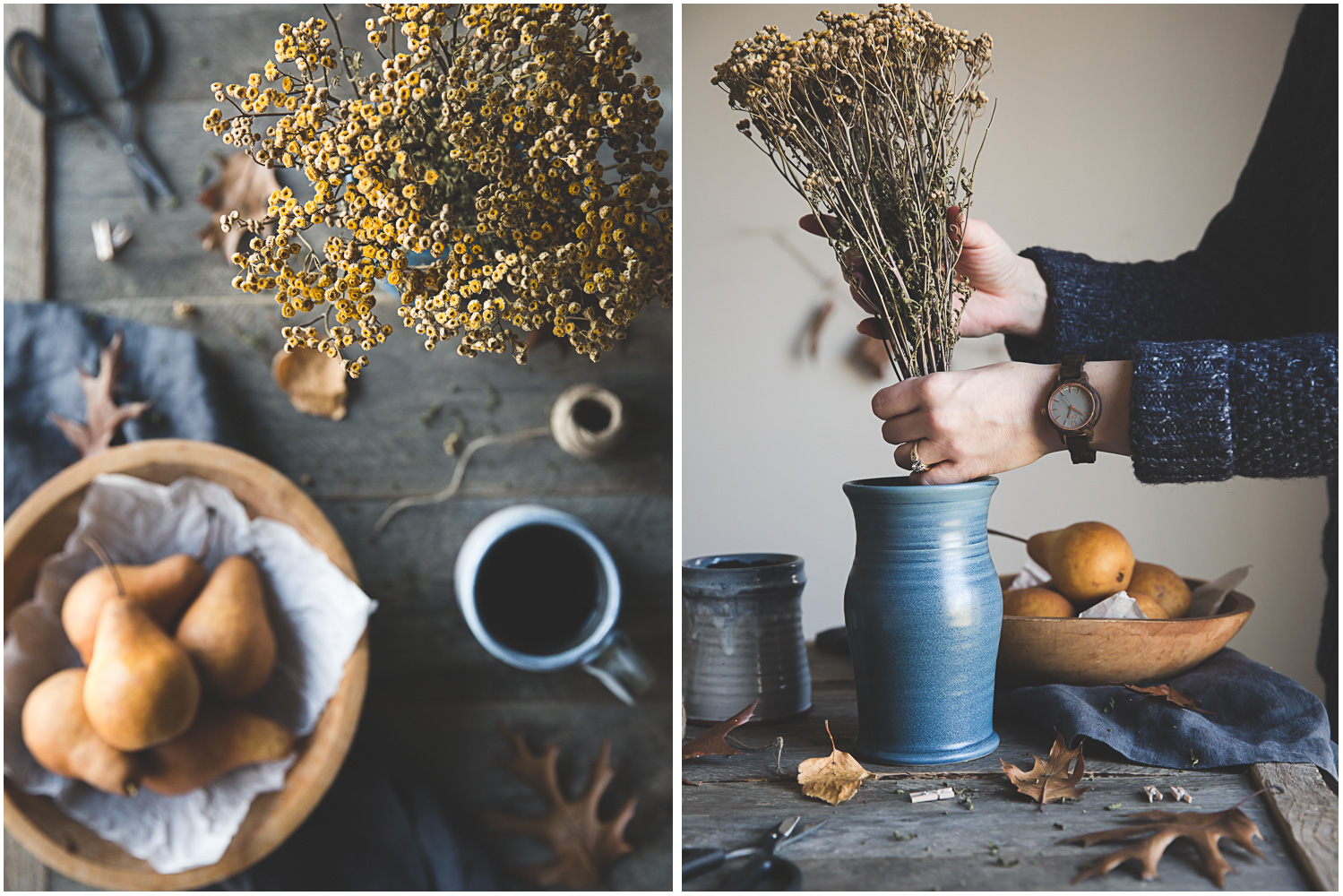 Arranging dried tansy and golden pears