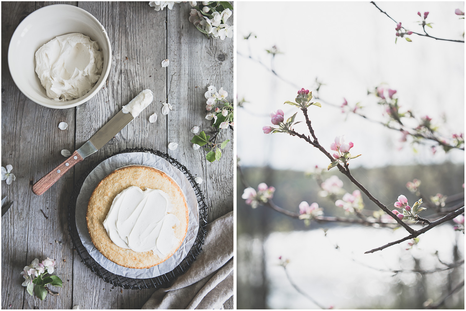 Classic white cake for a spring day
