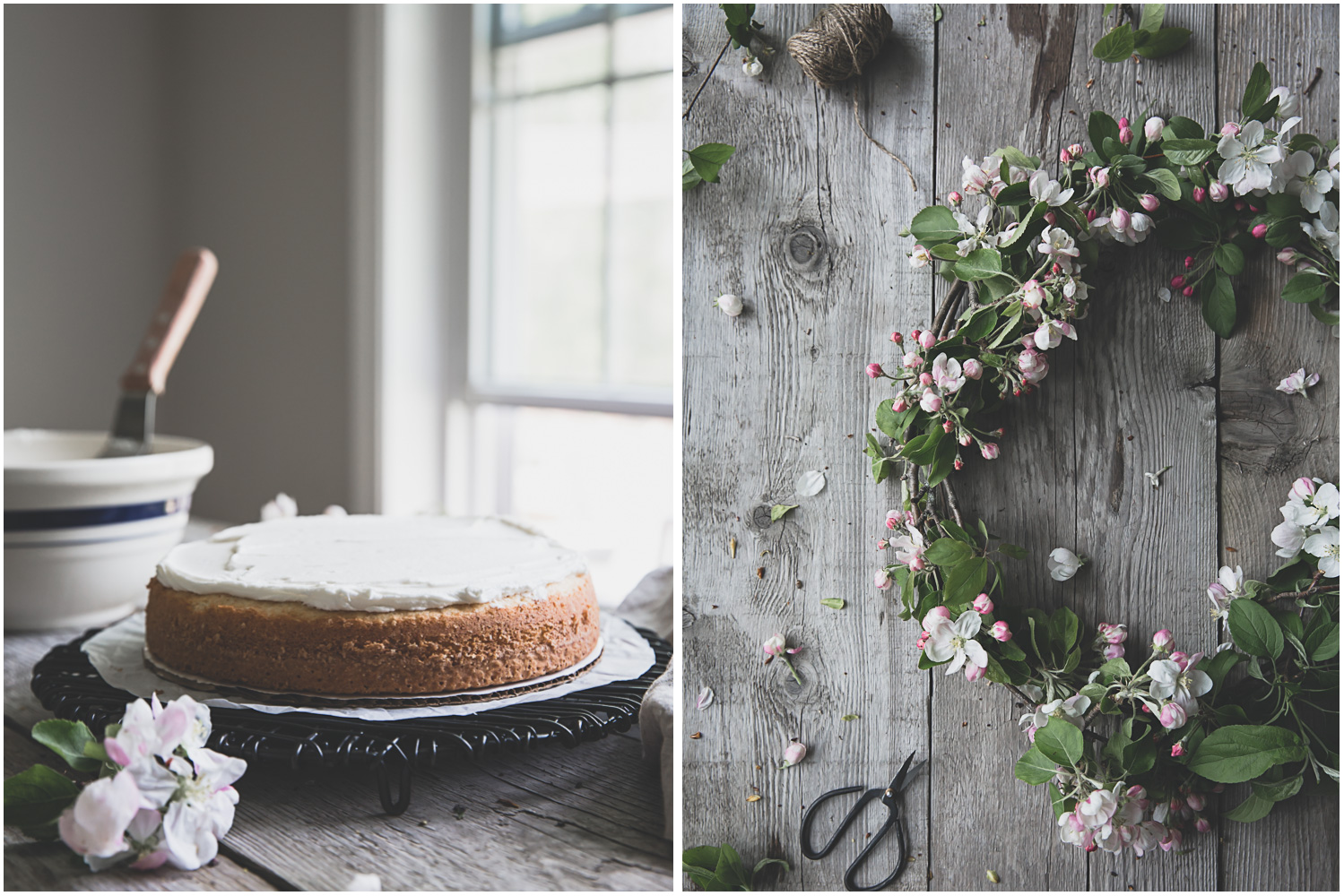 Classic white cake with buttercream and apple blossoms