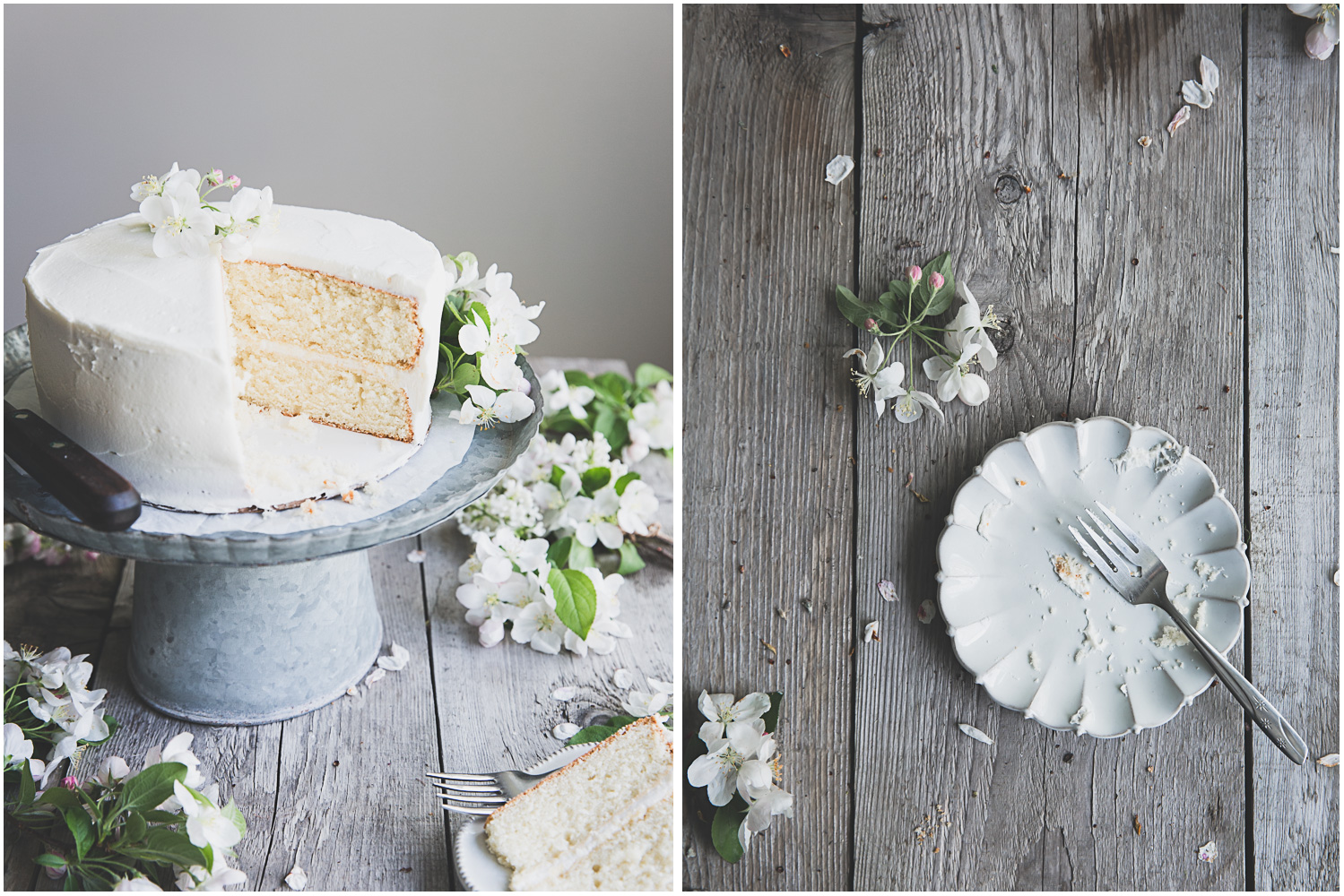 Classic white cake, decorated with apple blossoms