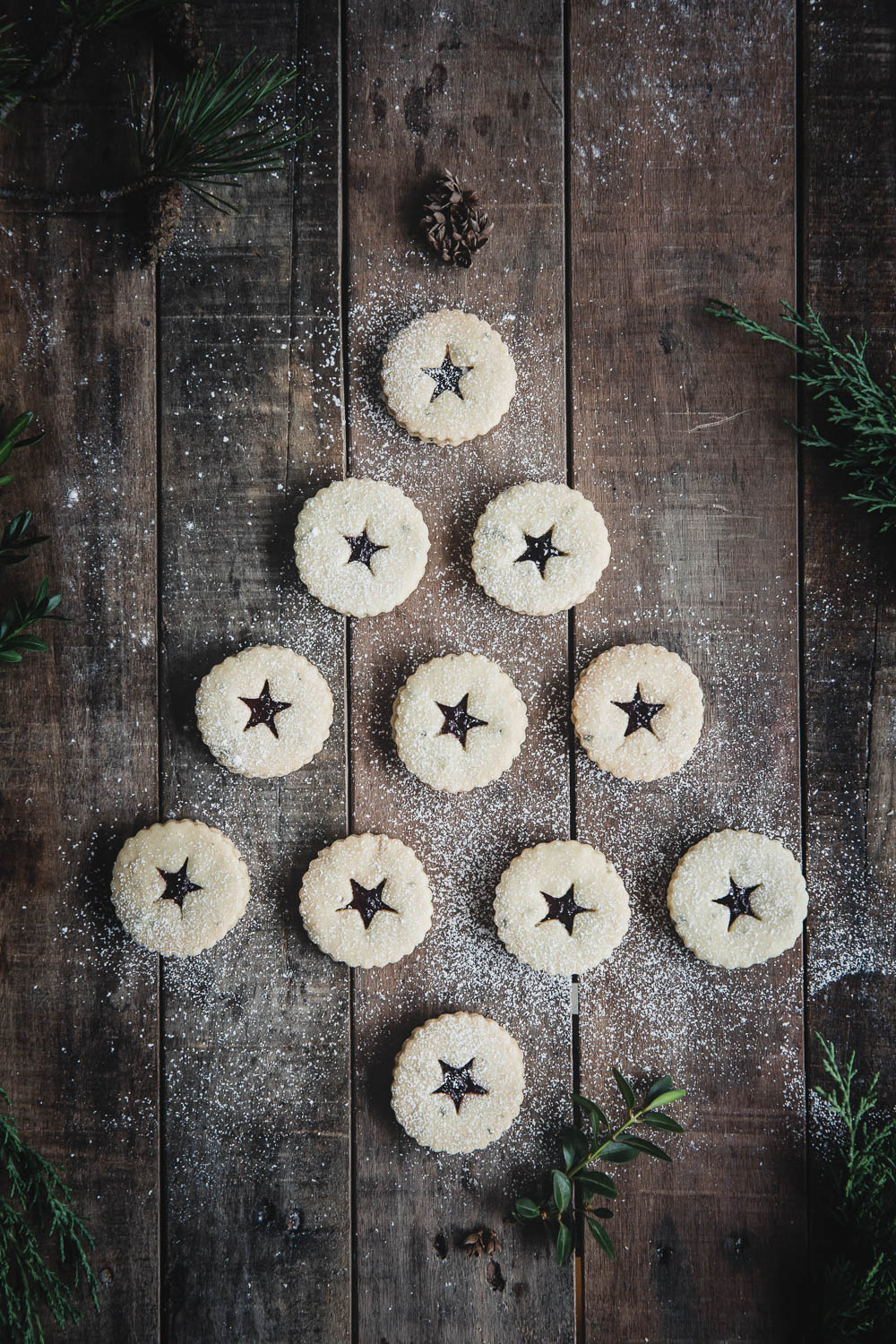 Christmas Rosemary Shortbread Linzer Cookies with Blueberry Preserves