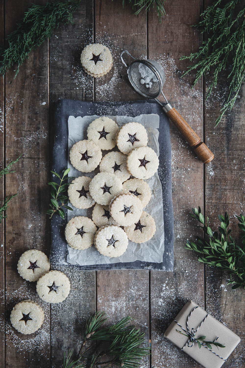 Sugar-dusted Rosemary Shortbread Linzer Tarts with Blueberry Jam