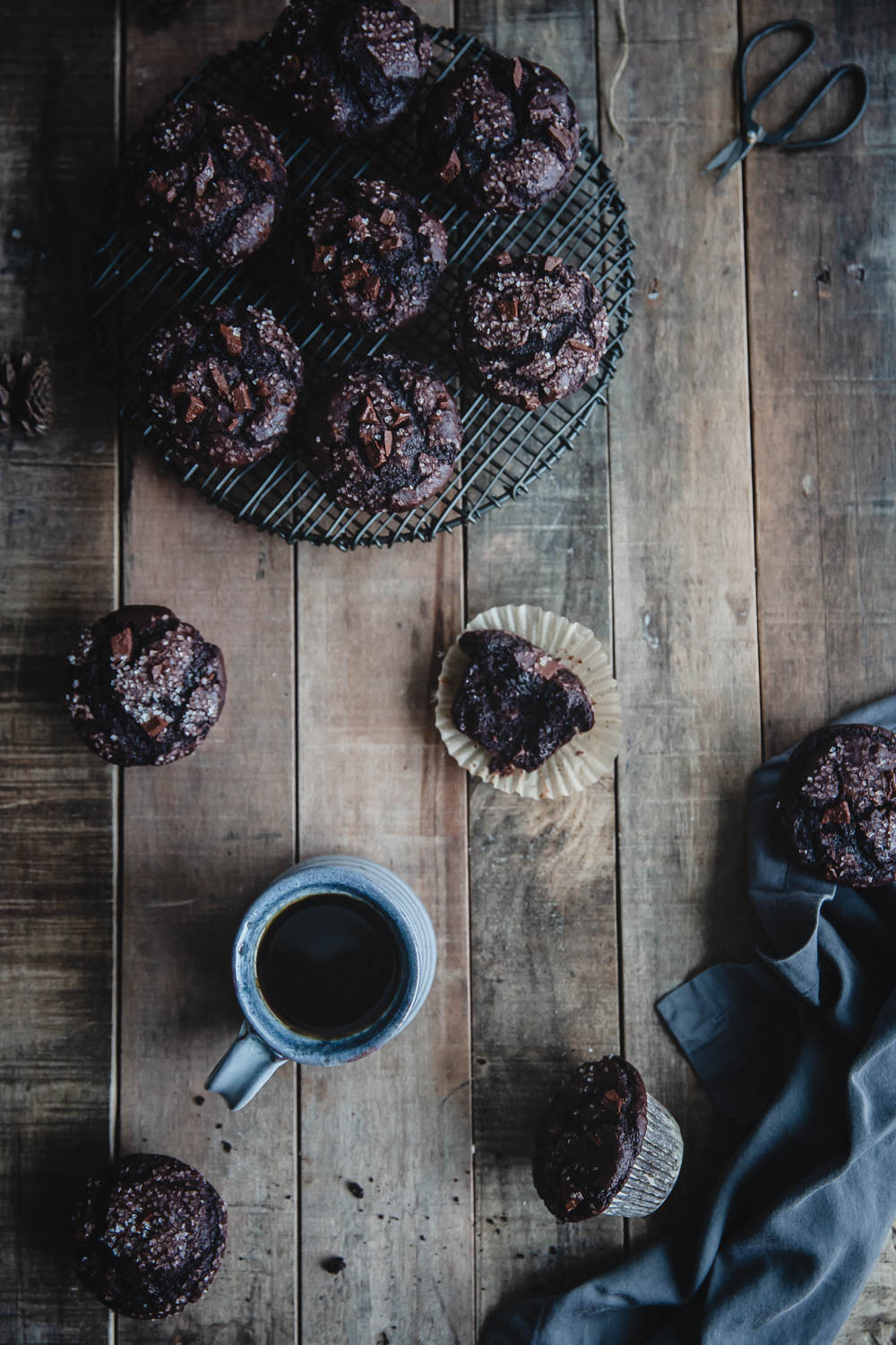 Double chocolate muffins and hot coffee