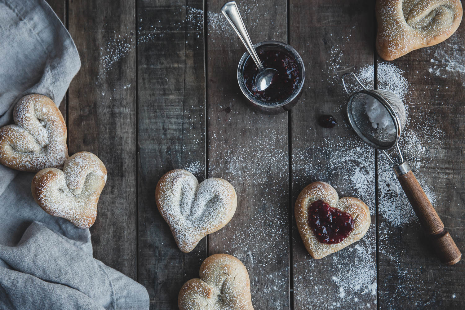 Heart-shaped Cardamom Buns served with raspberry preserves