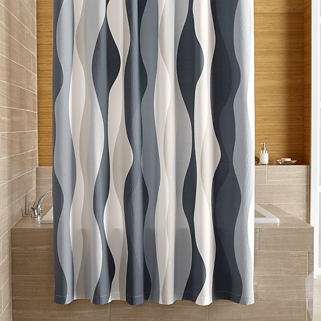 Italian Seersucker Blue Shower Curtain by Crate & Barrel.jpg