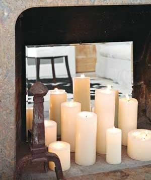 Mirror Reflecting Candle Light