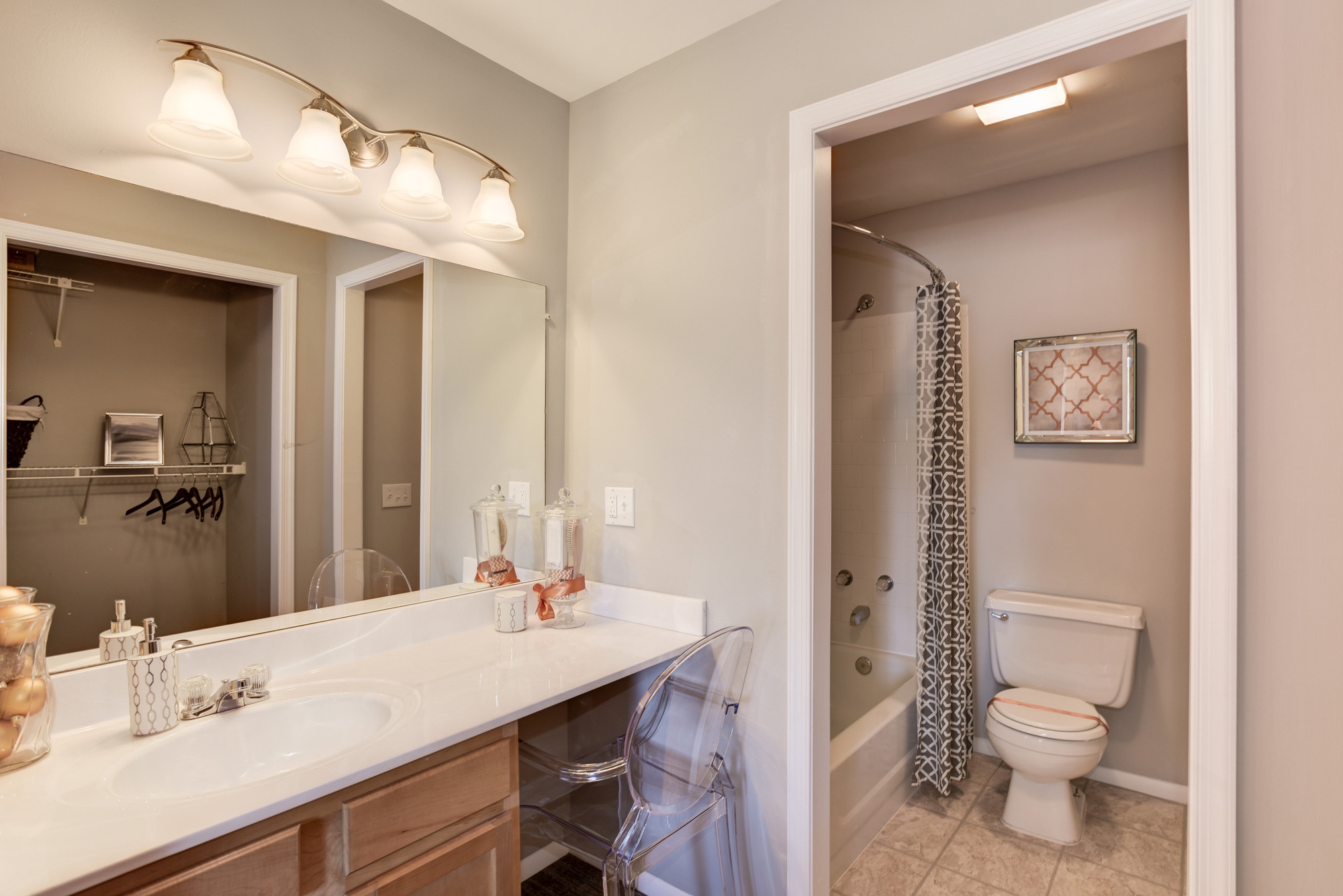 Fox Run Apartments in Edgewood, MD 21040: Master Bedroom Dressing Area and Full Bathroom